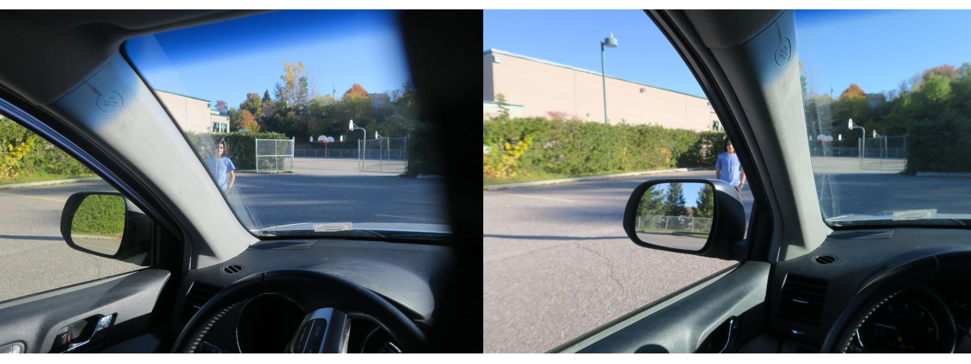 Bien s'assurer que la voie est libre avant de faire une manœuvre ou de démarrer son véhicule. Dans son véhicule, se décaler de quelques centimètres suffit !