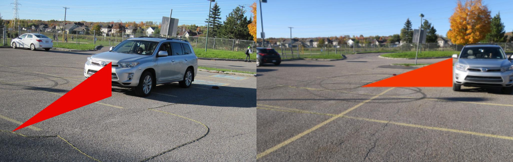 Un enfant se trouvant à l'intérieur du triangle rouge ne sera pas visible de la personne qui conduit. Au volant, il faut donc être à l'affût à ce qui pourrait se trouver à ces endroits, et ne pas se reposer uniquement sur les technologies de son véhicule.